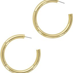 Columbus 14K Gold or Rhodium Plated Chunky Lightweight Hypoallergenic Thick Hoop Earrings   Amazon (US)