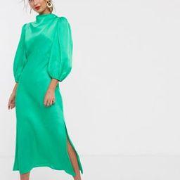 ASOS DESIGN cowl neck satin tea midi dress with puff sleeve in green | ASOS (Global)
