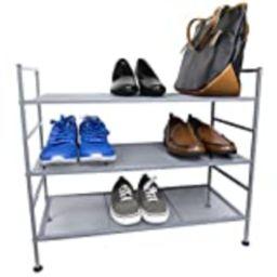 Home Basics Space Saving Metal Mesh Strong Durable Shoe Boot Rack Organizer, Grey (3 Tier) | Amazon (US)