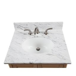 Alaterre 25-inch W Marble Sink Top for Bath Vanity (N/A - White) | Overstock