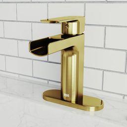Vigo VG01042K1 Ileana 1.2 GPM Single Hole Bathroom Faucet Matte Gold Faucet Bathroom Sink Faucets Si | Build.com, Inc.
