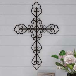 Lavish Home Metal Wall Cross with Decorative Fleur De Lis Design   Overstock