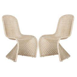 Set of 2 Tana Wicker Side Dining Chair - Safavieh   Target