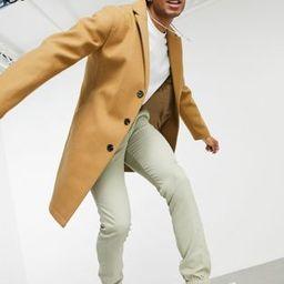 ASOS DESIGN unlined overcoat in camel | ASOS (Global)