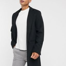 ASOS DESIGN wool mix overcoat with inverted lapel in black | ASOS (Global)