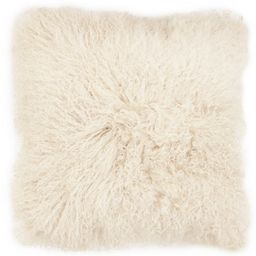 Mongolian Fur Mongolian Pillow in Ivory (As Is Item) (Ivory - Polyester)   Overstock