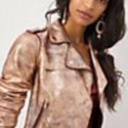 Brisa Metallic Cropped Faux Leather Moto Jacket   Anthropologie (US)