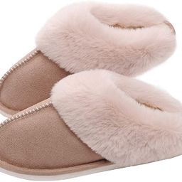SOSUSHOE Womens Slippers Memory Foam Fluffy Fur Soft Slippers Warm House Shoes Indoor Outdoor Win... | Amazon (US)