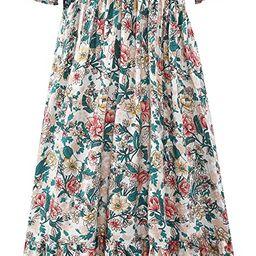 Women's Boho Vintage Puff Sleeves Midi Dress,Off Shoulder A-Line Flowy Long Dresses | Amazon (US)