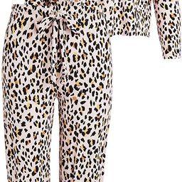 Plush Women's Ultra Soft Cheetah Jersey PJ Set + Scrunchie   Amazon (US)