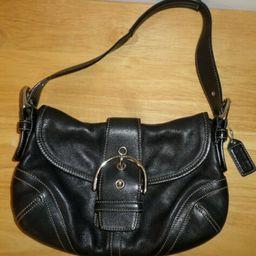 Details about  Coach Soho Black Leather Buckle Shoulder Bag E04S-9247 Flap Closure | eBay US