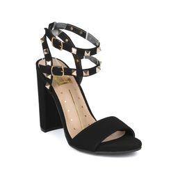New Women Fahrenheit Becca05 Nubuck Studded Double Ankle Strap Block Heel Sandal | Walmart (US)