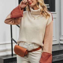 Simplee Color-block Funnel Neck Drop Shoulder Sweater | SHEIN