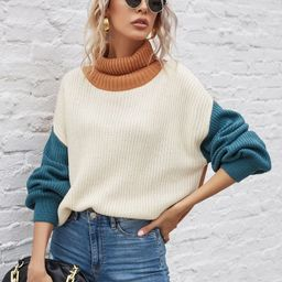 Cut And Sew Turtleneck Sweater | SHEIN