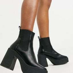 Truffle Collection chunky chelsea heeled ankle boots in black | ASOS (Global)