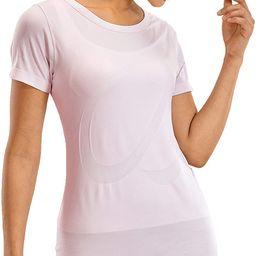 CRZ YOGA Women's Seamless Workout Short Sleeve Tees Plain T Shirts Athletic Shirts | Amazon (US)