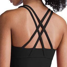 Lavento Strappy Sports Bras for Women Longline Padded Medium Support Yoga Training Bra Top | Amazon (US)