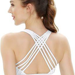 QUEENIEKE Women's Medium Support Strappy Back Energy Sport Bra Cotton Feel 6017 | Amazon (US)
