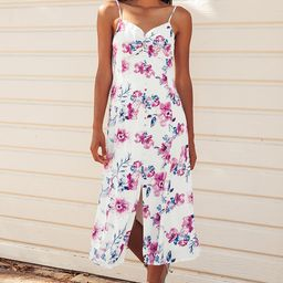Now and Fleur-Ever White Floral Print Button Front Midi Dress   Lulus (US)