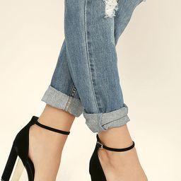 Laura Black Velvet Ankle Strap Heels | Lulus (US)