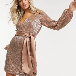 Ever New sequin wrap mini dress in copper   ASOS (Global)