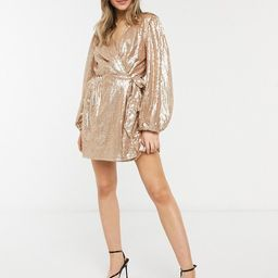 In The Style exclusive sequin square wrap detail mini skater dress in gold   ASOS (Global)