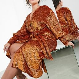 ASOS EDITION Curve sequin wrap midi dress in rust   ASOS (Global)