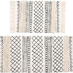SHACOS Tufted Cotton Area Rugs Set of 2 Hand Woven Cotton Rug Runner Boho Rug with Tassels for Be... | Amazon (US)