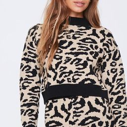 Contrast-Trim Leopard Sweater | Forever 21 (US)
