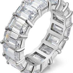 Women's .925 Sterling Silver 4x6mm Emerald Cut Eternity Ring   Amazon (US)