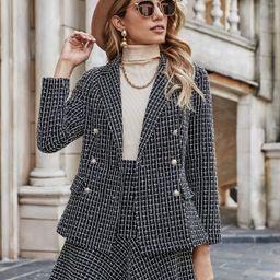 Double Button Front Plaid Tweed Blazer & Skirt Set | SHEIN