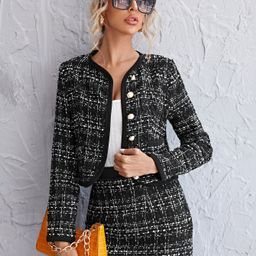 Single Breasted Plaid Tweed Jacket & Skirt Set | SHEIN