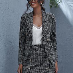 Double Button Raw Hem Plaid Tweed Blazer & Skirt Set | SHEIN