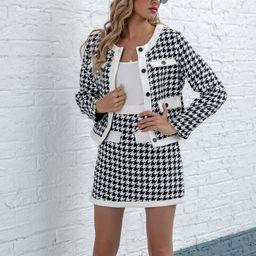 Houndstooth Pattern Button Placket Jacket & Skirt Set | SHEIN