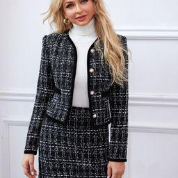 SHEIN Button Front Plaid Tweed Jacket & Skirt Set | SHEIN