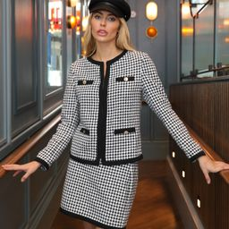 SHEIN Houndstooth Button Detail Jacket & Skirt Set | SHEIN