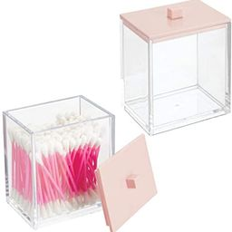 mDesign Modern Square Bathroom Vanity Countertop Storage Organizer Canister Jar for Cotton Swabs,... | Amazon (US)