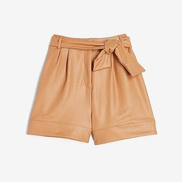 Super High Waisted Vegan Leather Tie Front Shorts | Express