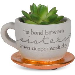 """Pavilion Gift- """"""""The bond between sisters grows deeper each day"""""""" Copper Cement Teacup Planter with  