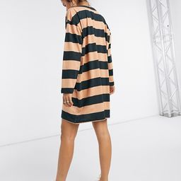 ASOS DESIGN oversized t-shirt dress with long sleeve in black and camel stripe   ASOS (Global)