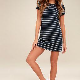 Cafe Society Navy Blue Striped Shirt Dress   Lulus (US)