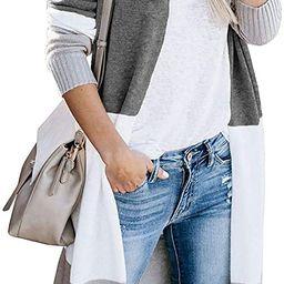Women's Long Cardigan Open Front Color Block Cardigan Knit Sweaters | Amazon (US)