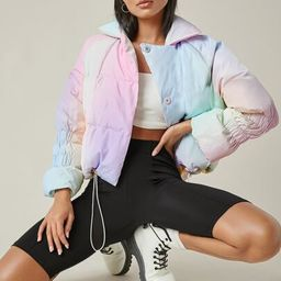 SHEIN Ombre Shirred Drawstring Puffer Jacket | SHEIN