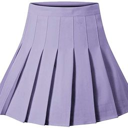 Girls Women High Waisted Plain Pleated Skirt Skater Tennis School Uniforms A-line Mini Skirt Lini... | Amazon (US)
