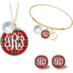 Monogram Necklace, Christmas Jewelry, Disc Red Tartan Plaid Bracelet, Earrings | Etsy (US)