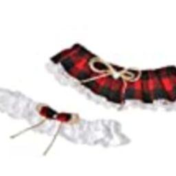 Handmade, Red & black Buffalo plaid wedding garter set, Buffalo check plaid lingerie, Lumberjack wed | Amazon (US)