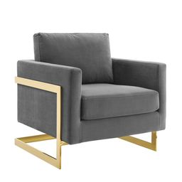 MODWAY Posse Performance Gold Gray Velvet Accent Chair | The Home Depot