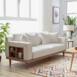 Furniture of America Stacy Contemporary Cream Sofa With Shelves (Cream) | Overstock