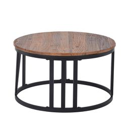 Boyel Living 32 in. Brown Medium Round Wood Coffee Table with Roman Numerically Shaped Iron Legs wit | The Home Depot