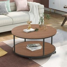 Merax Round Coffee Table with Caster Wheels and Unique Textured Surface (Brown) | Overstock